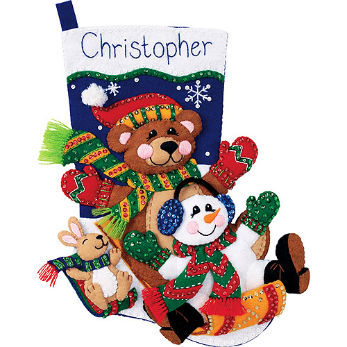 Dimensions Felt Applique Kit, Toboggan Trio Stocking