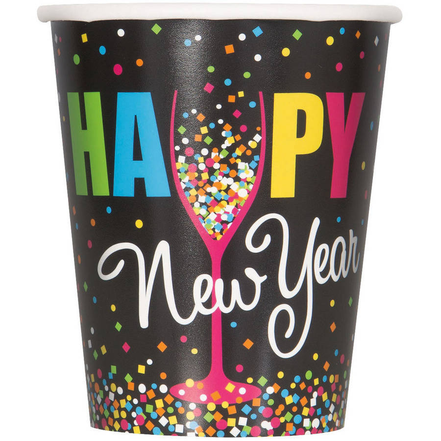9oz Paper Confetti New Years Eve Cups, 8ct