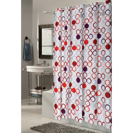 """""""Ez On"""" Fabric shower curtain with built in shower curtain hooks: extra wide size 108"""" wide x 72"""" long; pattern name """"Bohemia"""" - image 1 de 1"""