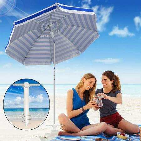 Peroptimist Beach Umbrella Sand Anchor with 3-Tier Screw Can Adjustable Fits All Safe Stand Holder for Strong Wind (White) ()