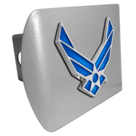Air Force Wings Blue Emblem on Brushed Hitch (Air Force Retired Hitch Cover)