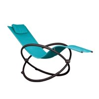 """60"""" Blue Outdoor Aluminum Orbital Lounge Chair with a Pillow"""