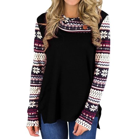 Nlife Women Lapel Collar Long Sleeve Floral Print Casual Sweatshirt