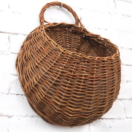 - Natural Wicker Rattan Basket Handmade Flower Pot Plant Stand Holder DIY Home Wall Hanging Decor