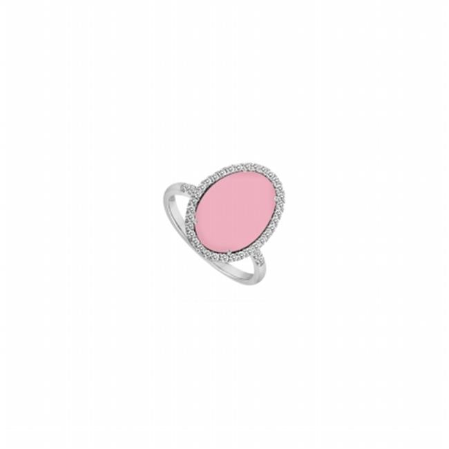 Fine Jewelry Vault UBBK7022AGCZVPK Sterling Silver Pink Chalcedony & Cubic Zirconia Ring 16 CT TGW , 56 Stones by Fine Jewelry Vault