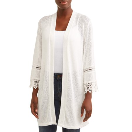 Women's Open Front Pointelle Hacci Cardigan