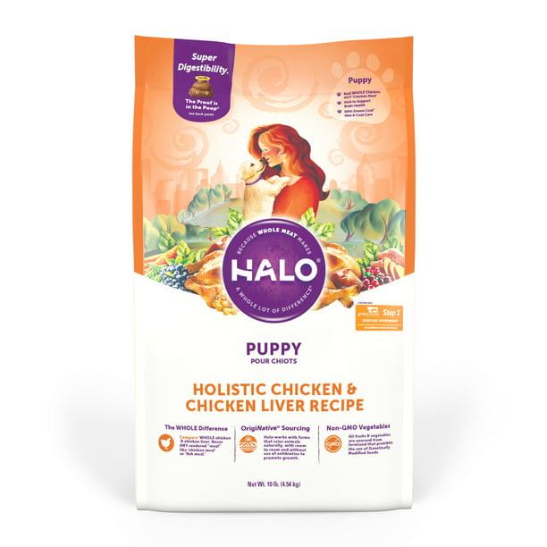 Halo Natural Dry Dog Food, Puppy Chicken & Chicken Liver Recipe, 10-Pound Bag