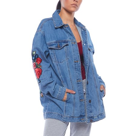 Womens Casual Pocket Rose Emboidery Long Sleeve Denim Jacket WV1095-WB