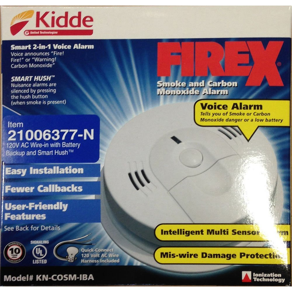 Smoke/Co Alarm,Combo,Ac,Voice, Ac voice combination carbon monoxide & smoke alarm By Kidde