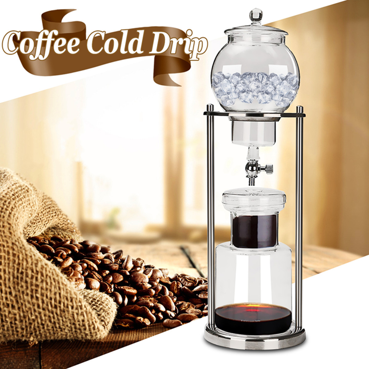 "1000ml New Dutch Coffee Cold Drip Water Drip Coffee Maker Serve For 10 stainless steel teamaker Cups 18x6"" Inch (diameter * height)"