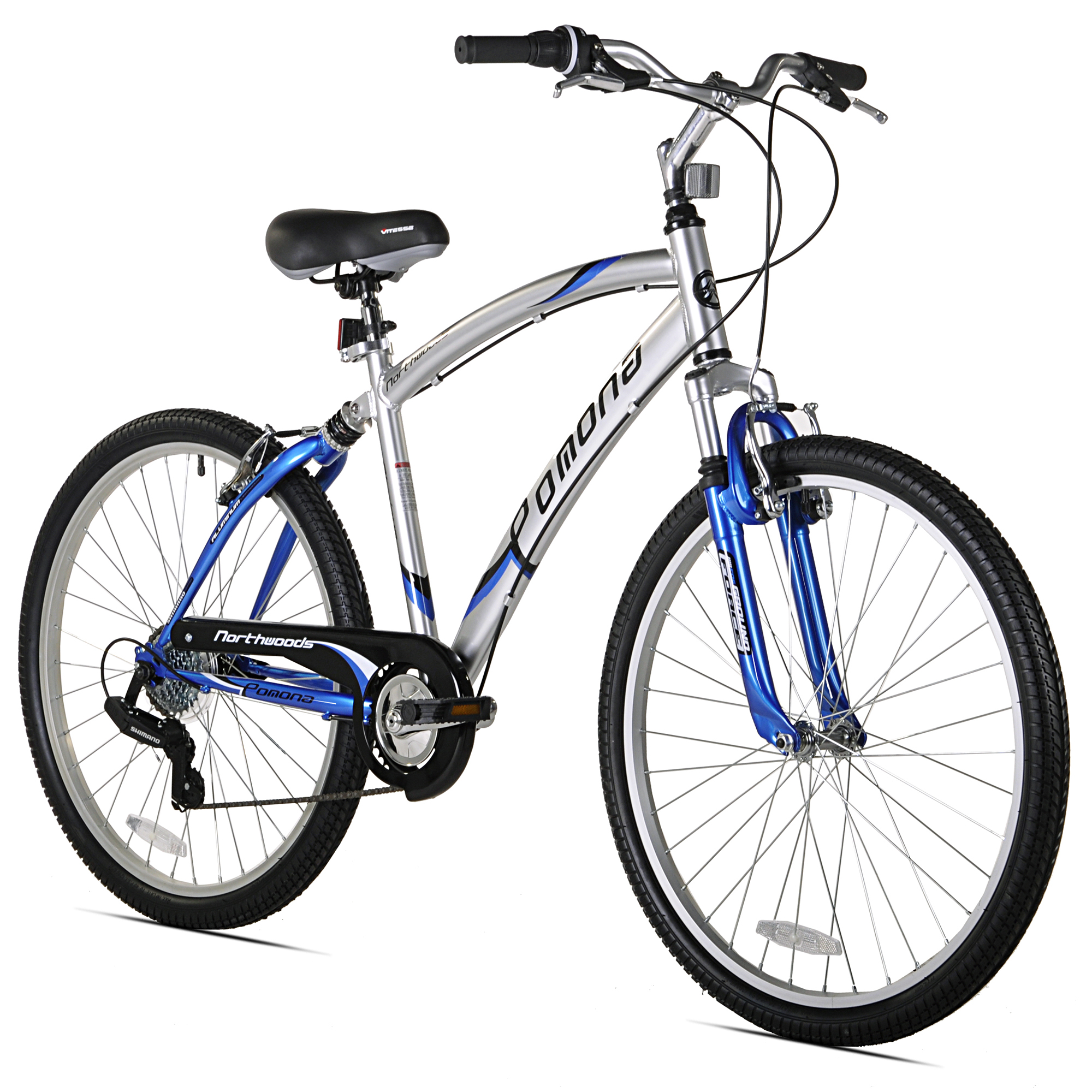 "Northwoods Pomona 26"" Men's 7 Speed Dual Suspension Fitness Cruiser Bike, Blue"