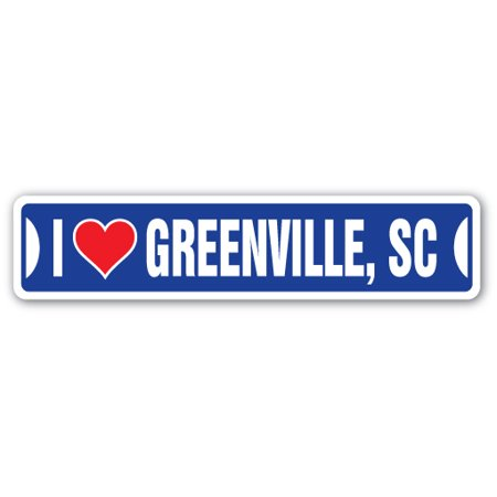 I LOVE GREENVILLE, SOUTH CAROLINA Street Sign sc city state us wall road décor gift - Party City Greenville Sc