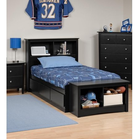 Platform Storage Bed W Bookcase Headboard Bed Size Twin