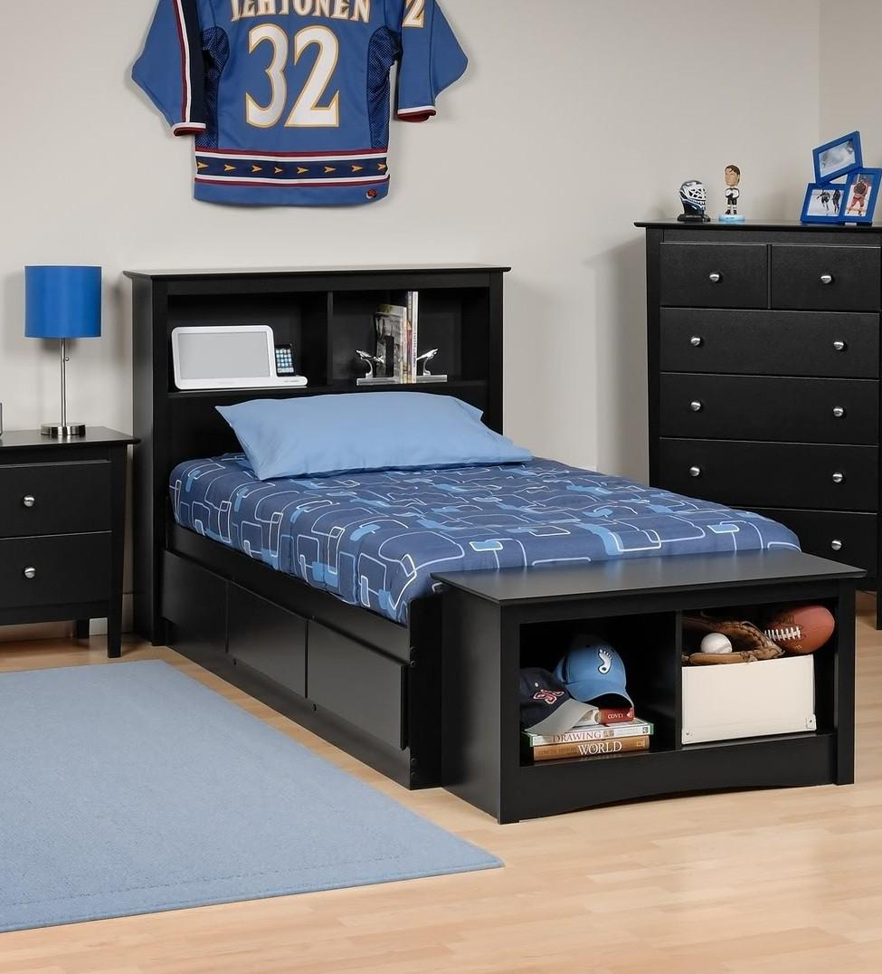 Platform Storage Bed w/ Bookcase Headboard-Bed Size:Twin,Color:Black
