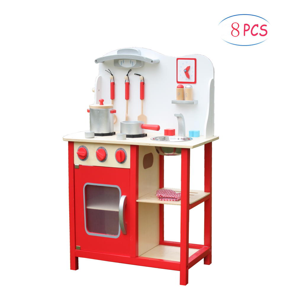 Play Kitchen Set Kids Wood Kitchen Toy Cooking Pretend To Play Set With 8 Piece Cookware Accessories Kitchen Accessories For Kids Kitchen Playset For Toddlers Play Kitchen Sets For Girls W5518 Walmart Com