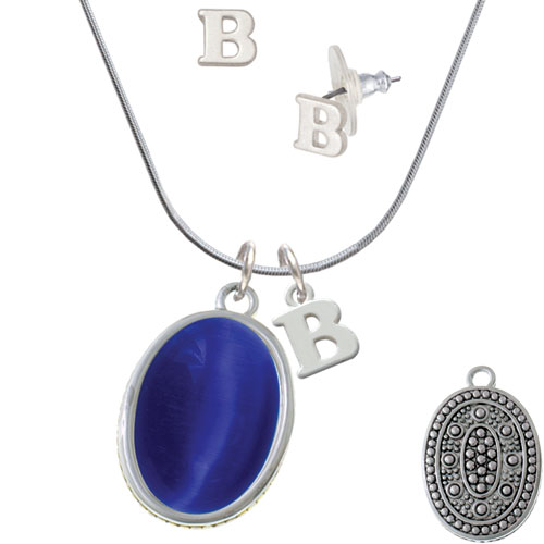 Oval - Imitation Cat's Eye - Blue - - B Initial Charm Necklace and Stud Earrings Jewelry Set
