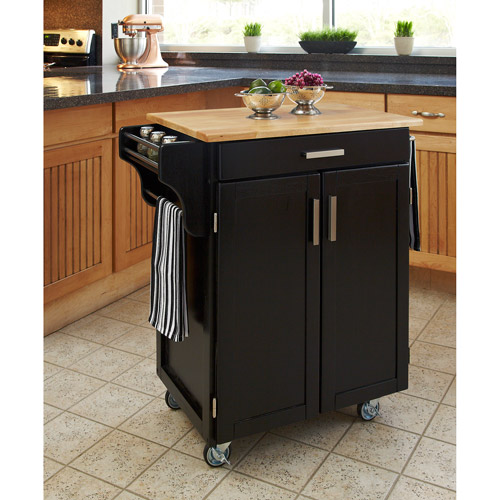 Home Styles Kitchen Cart, Black With Wood Top