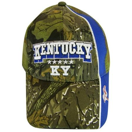 Kentucky Men's Mesh Back 2-Tone Adjustable Baseball Cap (Camouflage/Royal) Rhinestone Mesh Back Cap