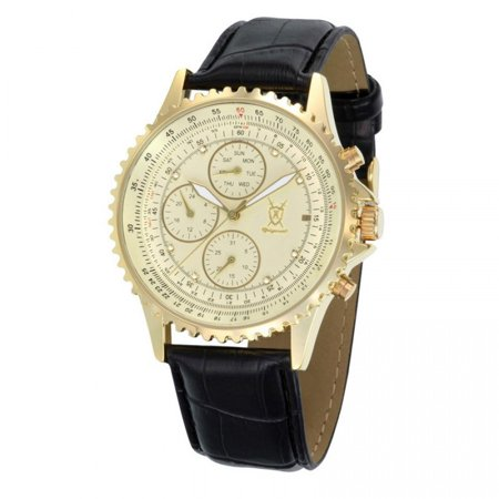 Mens Dress Watch Black Leather Strap Gold Dial Multifunction Day Date Crystal Markers Reloj de Hombres