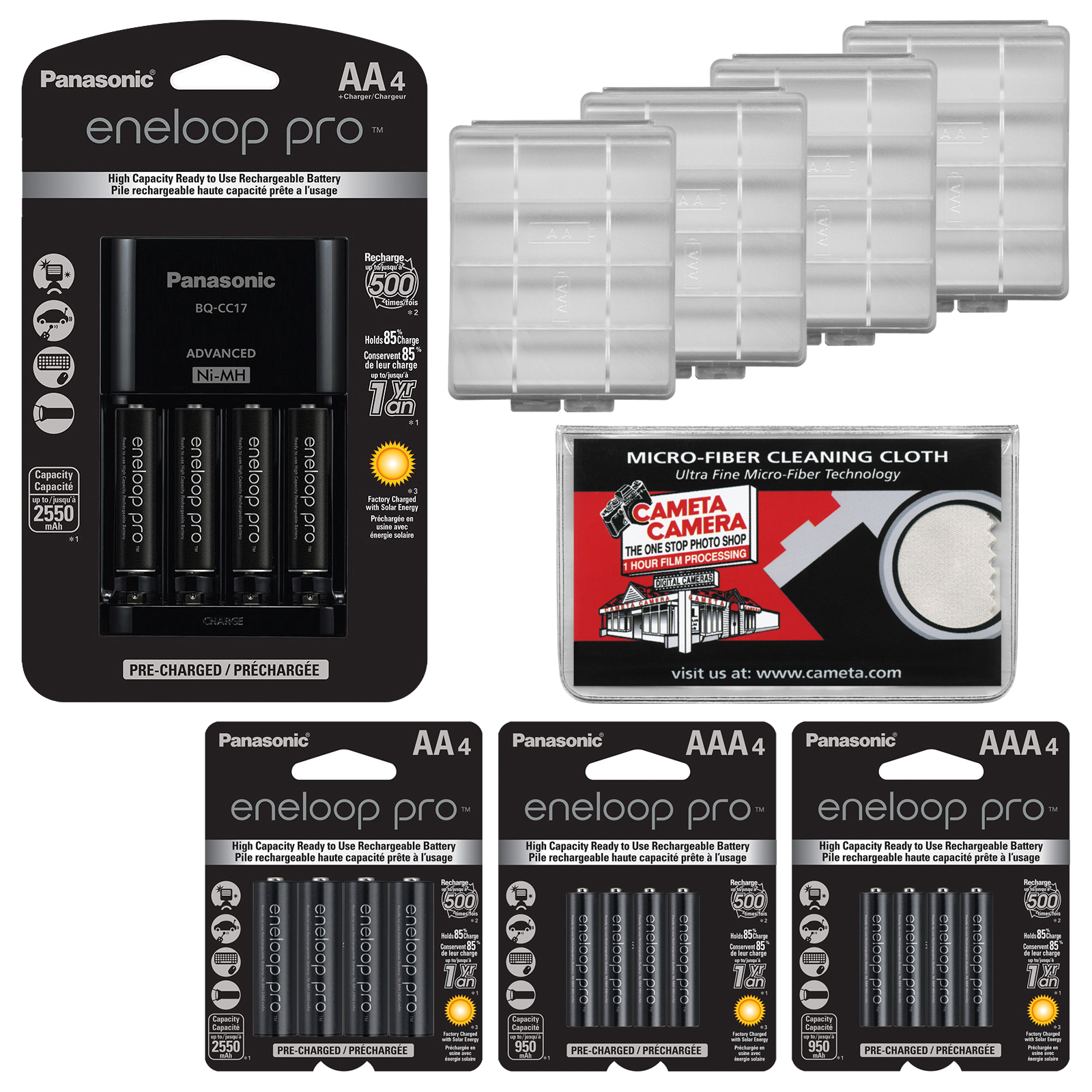 Panasonic eneloop Pro (4) AA 2550mAh Pre-Charged NiMH Rechargeable Batteries & Charger + (4) Extra AA Batteries + (8) AAA Batteries + (4) Battery Cases + Kit