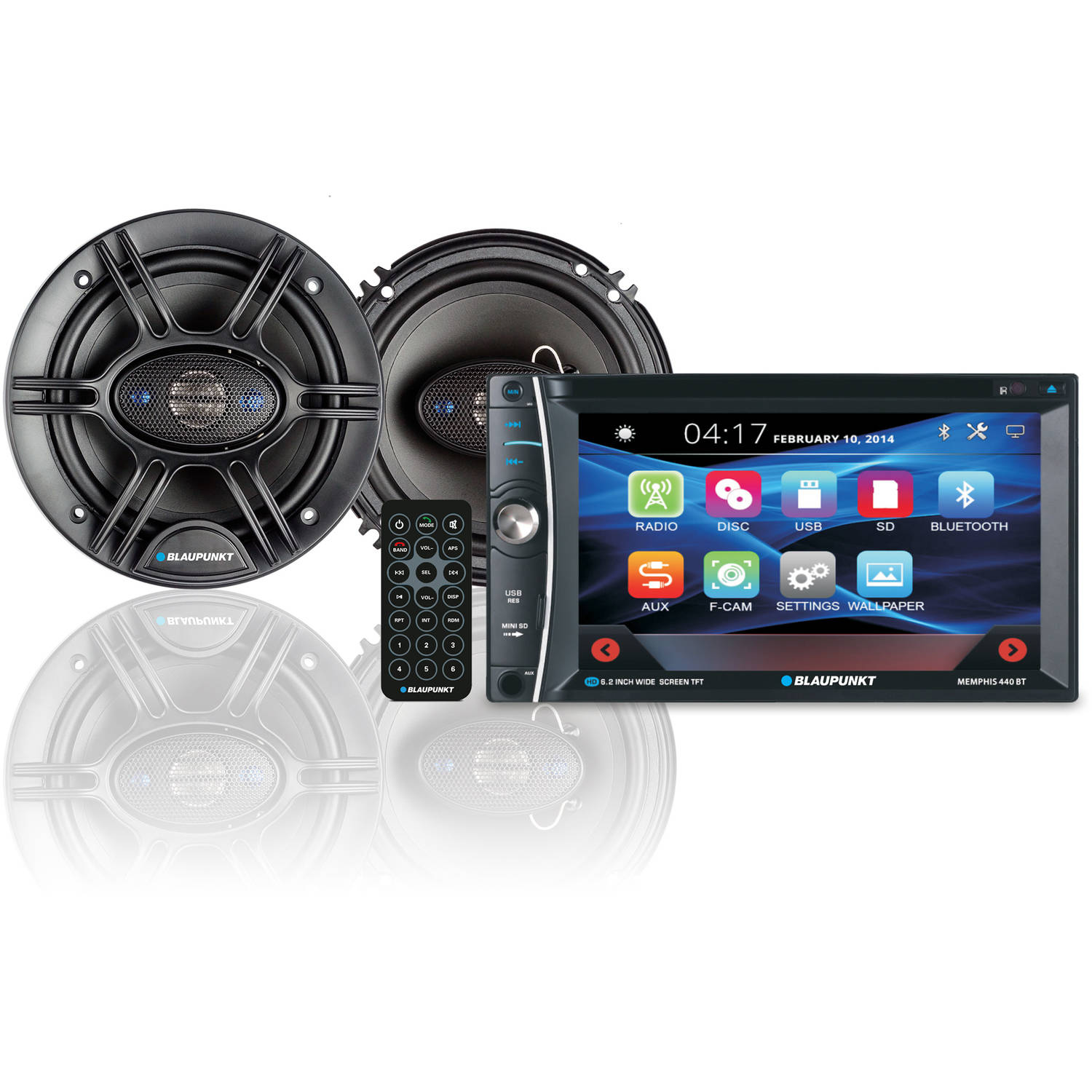 "The Blaupunkt 6.2"" In-Dash Touch Screen DVD Receiver and 6.5"" 360 Watt Speakers Bundle"