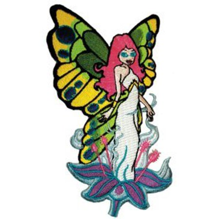 """BUTTERFLIES FLYGIRL FAIRY, Iron On / Sew On, Officially Licensed Butterfly Artwork, 2.4"""" x 4.5"""", Embroidered Patch"""