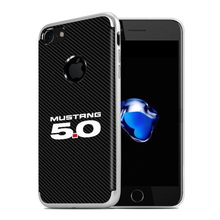 iPhone 7 Case, Ford Mustang 5.0 PC+TPU Shockproof Black Carbon Fiber Textures Cell Phone Case