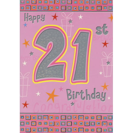 Designer Greetings Silver Foil 21 on Pink with Stars: 21st Birthday