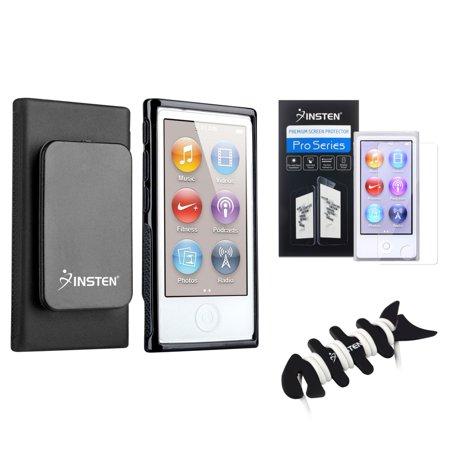 Insten Black TPU Case w/Belt Clip+2x Screen Guard For iPod Nano 7 7G 7th+Fishbone