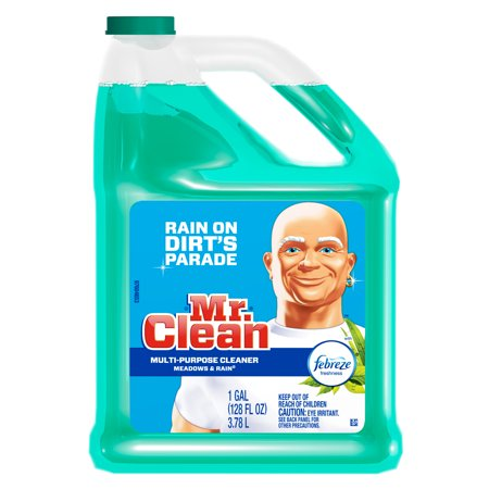 Mr. Clean Liquid Multi-Purpose Cleaner with Febreze, Meadows & Rain, 128 fl oz (Watermelon Cleaning Supplies)