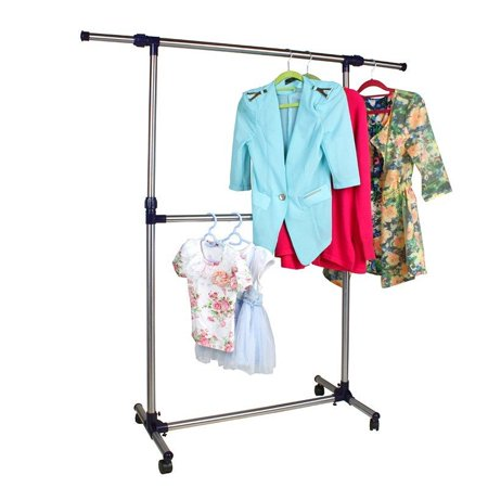 Double Hanging - Ktaxon Adjustable Double Rods Garment Rack Rolling Hanging Clothes Racks with Brake Wheels