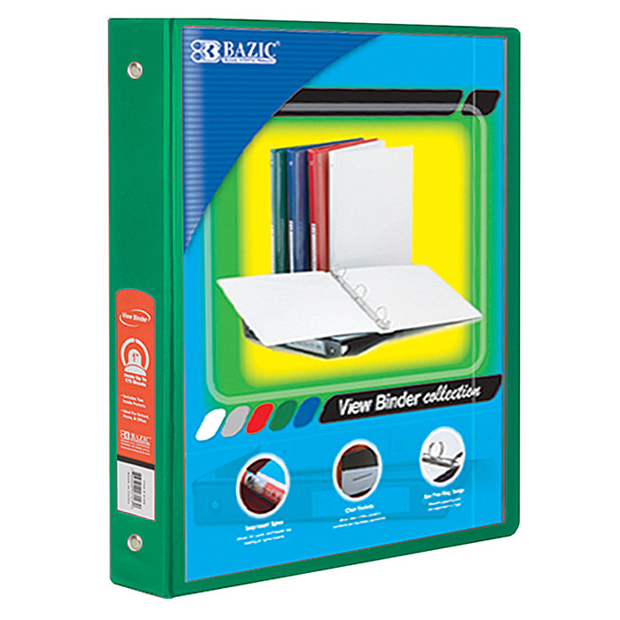 "(Price/Case of 12)Bazic Products 4142-12 1.5"" Green 3-Ring View Binder W/2-Pockets"