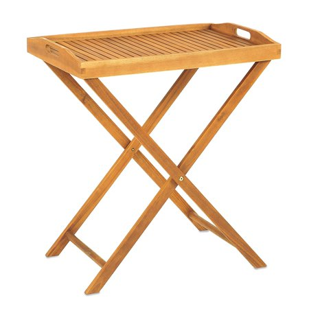 Butler Tray With Stand Of   Holds Up To 50 Lbs  Made Of Solid Wood For Durability  Can Be Folded For Easy Storage  Ideal For Outdoor Dining Set Up  Measures    By Westerly Acacia Wood