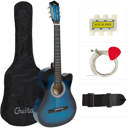 Best Choice Products 38in Beginner Acoustic Cutaway Guitar Set w/ Extra Strings, Case, Strap, Tuner, and Pick - Blue
