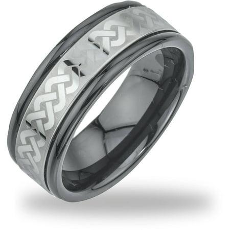 Black Ceramic Ring (Men's Tungsten Black Ceramic Laser-Etched Band)