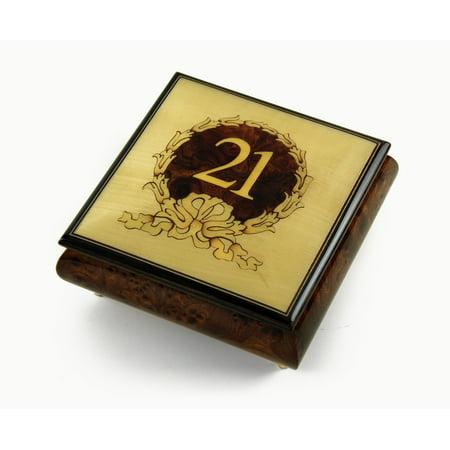 Simply Gold Music Box (21st Birthday Centered in Gold Wreath Sorrento Hand Inlaid Music Jewelry Box - Aquarius - SWISS)