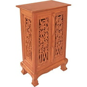 AsiaEXP Handcarved Acacia Wood Storage Cabinet/End Table, Intricate Bamboo Design