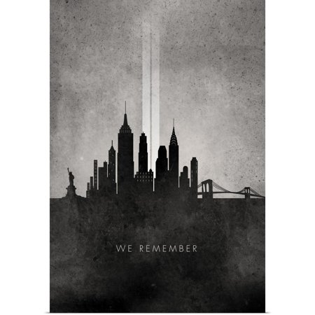 Great BIG Canvas | Rolled Circle Art Group Poster Print entitled We Remember - 911 NYC minimalist skyline (Halloween Jobs Nyc)