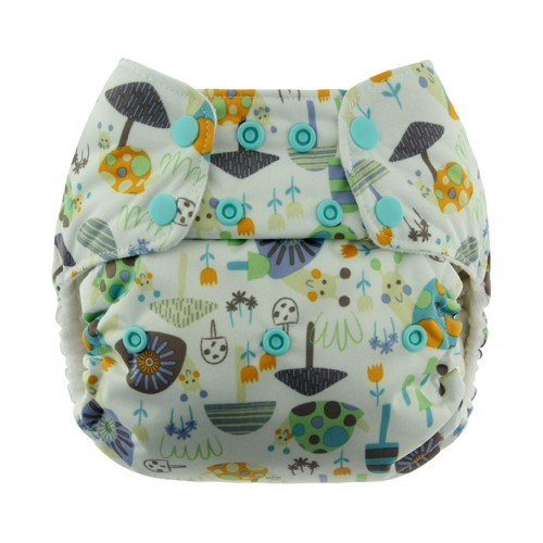 Blueberry One Size Deluxe Pocket Diaper Snap - Snails
