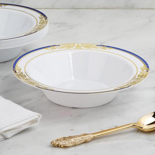 Plastic White Soup Bowls with Gold Rim Pack of 10 12 oz Hammered Collection
