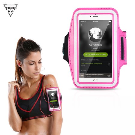 Forbidden Road Running Armband 10 Colors Sport Armband for Walking Gym Workout Arm Band with Earphone Key Holder Water-Resistant Phone Case for iPhone 6/7 Galaxy S7 Edge Note 4 (Rose Red)