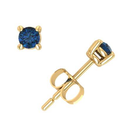 Blue White Yellow Diamond Studs (0.20CT Round Blue Diamond Basket Stud Earrings 14k Yellow Gold Prong Push Back I2)