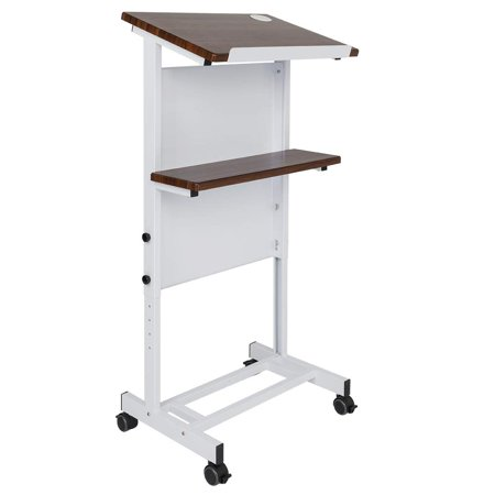 Ktaxon Mobile Stand Up Lectern Podium with Wheels, Height Adjustable Portable Heavy Duty Desk (Curved Podium)