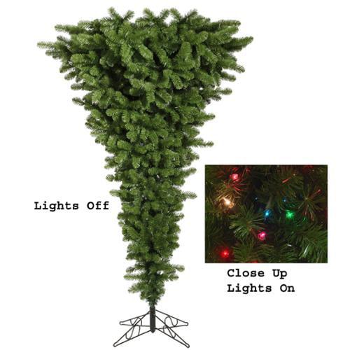 7.5' Pre-Lit Green Upside Down Artificial Christmas Tree - Multi Dura Lights