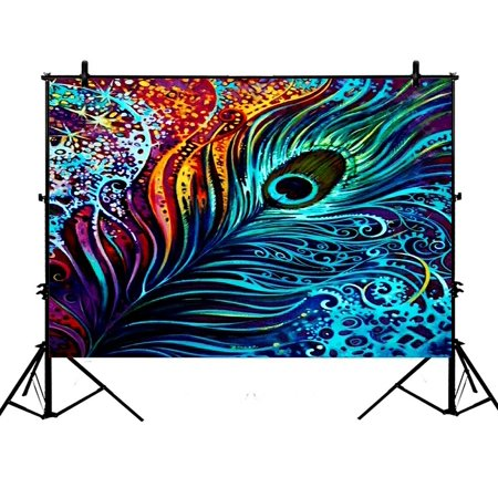 GCKG 7x5ft Colorful Peacock Design Polyester Photography Backdrop Studio Photo Props - Backdrop Design
