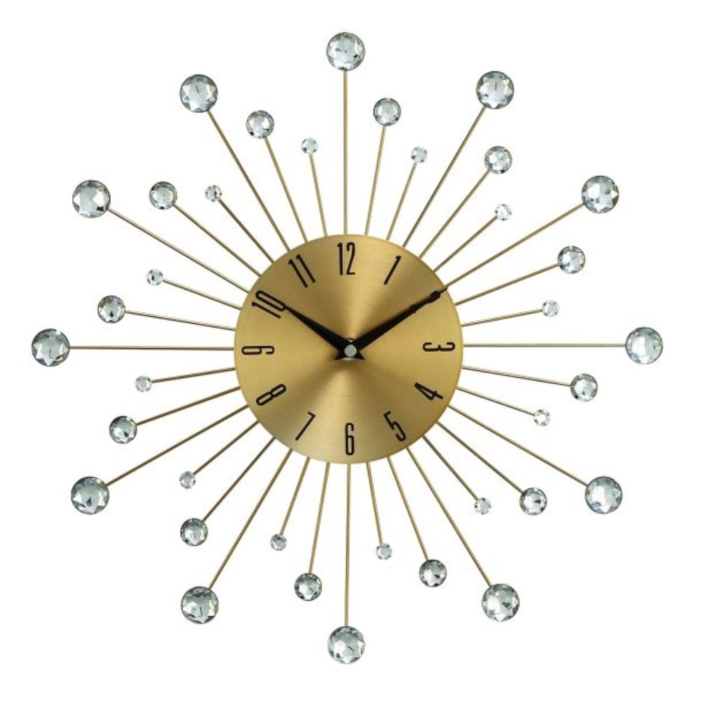 "Metal Gold Wall Clock 15""D"