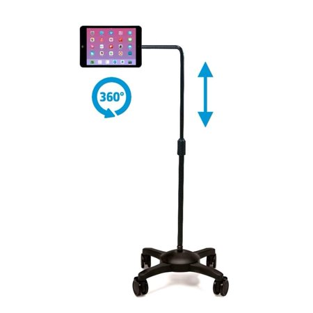 AIDATA Tablet Stand Compatible with iPad : Mobile Rolling Adjustable Floor Holder (L Arm) with Wheels (Rolling Ipad Stand)