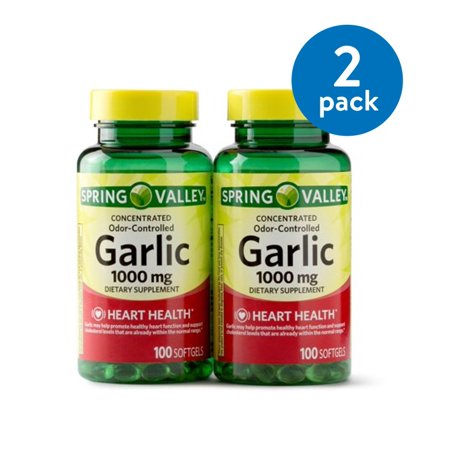 Spring Valley Odorless Garlic Softgels, 1000 mg, 100 Ct, 2 Pk (Pack of 2, 4 Total)