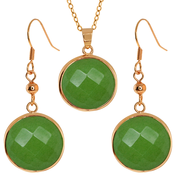 Stunning Faceted Light Green Color Jadelite Round Dangle Earrings/Pendant Set