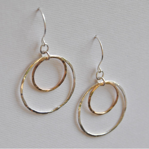 AEB Designs 14kt Gold Fill Sterling Silver Double Ring Earrings